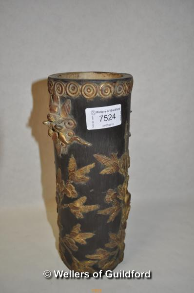 Lot 7524 - A Chinese bamboo brush pot with gilt-heightened decoration, 25.5cm.