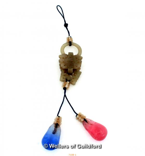 Lot 7108 - A 19/20 Century Chinese Jade Drop Pendant mounted with blue and pink stones