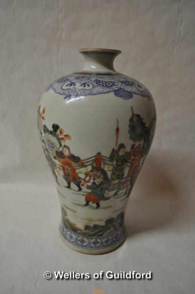 Lot 7529 - A Chinese famille verte baluster vase, six character mark to base, 23.5cm.