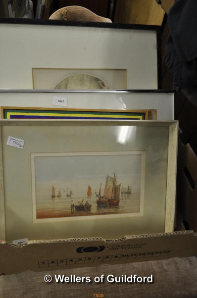Lot 7500 - English school, watercolour, Thames barges, unsigned, 15 x 27.5cm; nine further pictures or