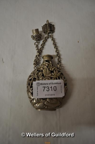 Lot 7310 - A Chinese white metal smelling salt holder with suspension loop.