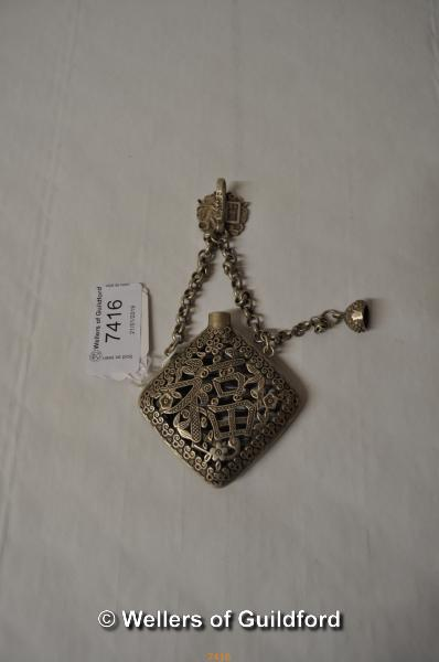 Lot 7416 - A Chinese white metal pendant smelling salts holder.