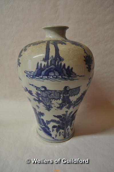 Lot 7481 - A Chinese blue and white baluster vase decorated with warriors, two blue rings to base, 34cm.