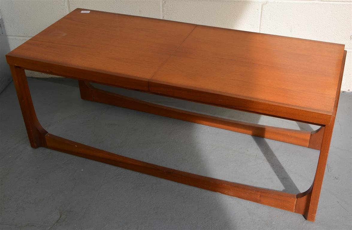 A remploy teak extending coffee table with a formica centre leaf 112 cm wide 150 cm extended Formica coffee table