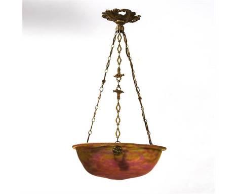 """Jugendstil-Deckenlampe    Daum.        Ätzmarke """"Daum Nancy"""".        Um 1920.        Frankreich.                    Bronze, G"""