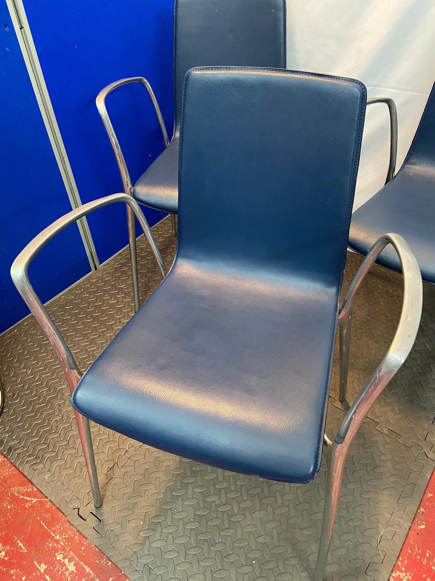 A Set of four Spanish designer Akaba dining chairs designed by Jorge Pensi. Blue leather material - Image 6 of 6