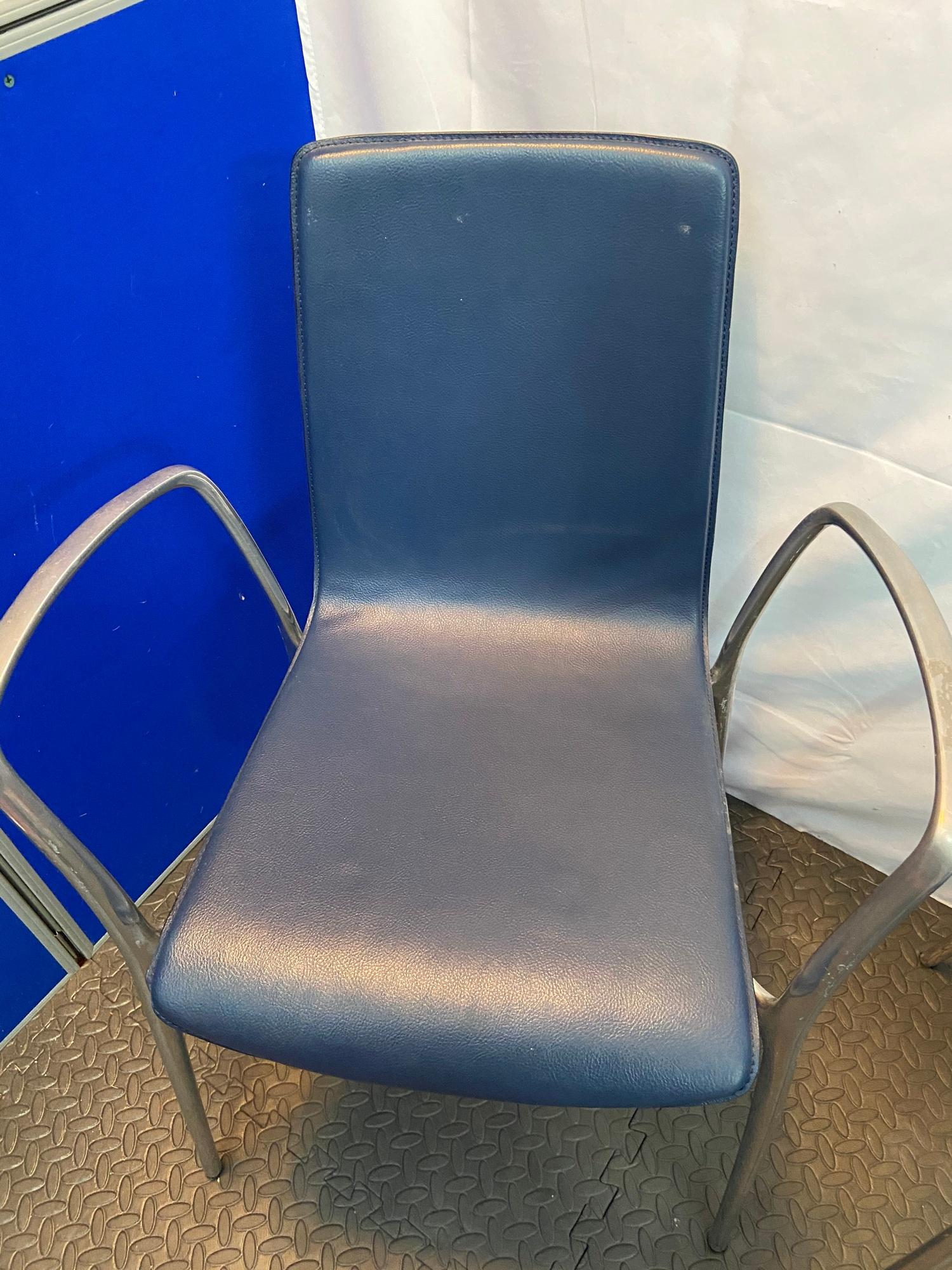 A Set of four Spanish designer Akaba dining chairs designed by Jorge Pensi. Blue leather material - Image 3 of 6