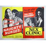 Selection of UK Quad Film Posters: GYMSLIP LOVERS / TEENAGE HITCH HIKERS; NAUGHTY NURSES / SEX