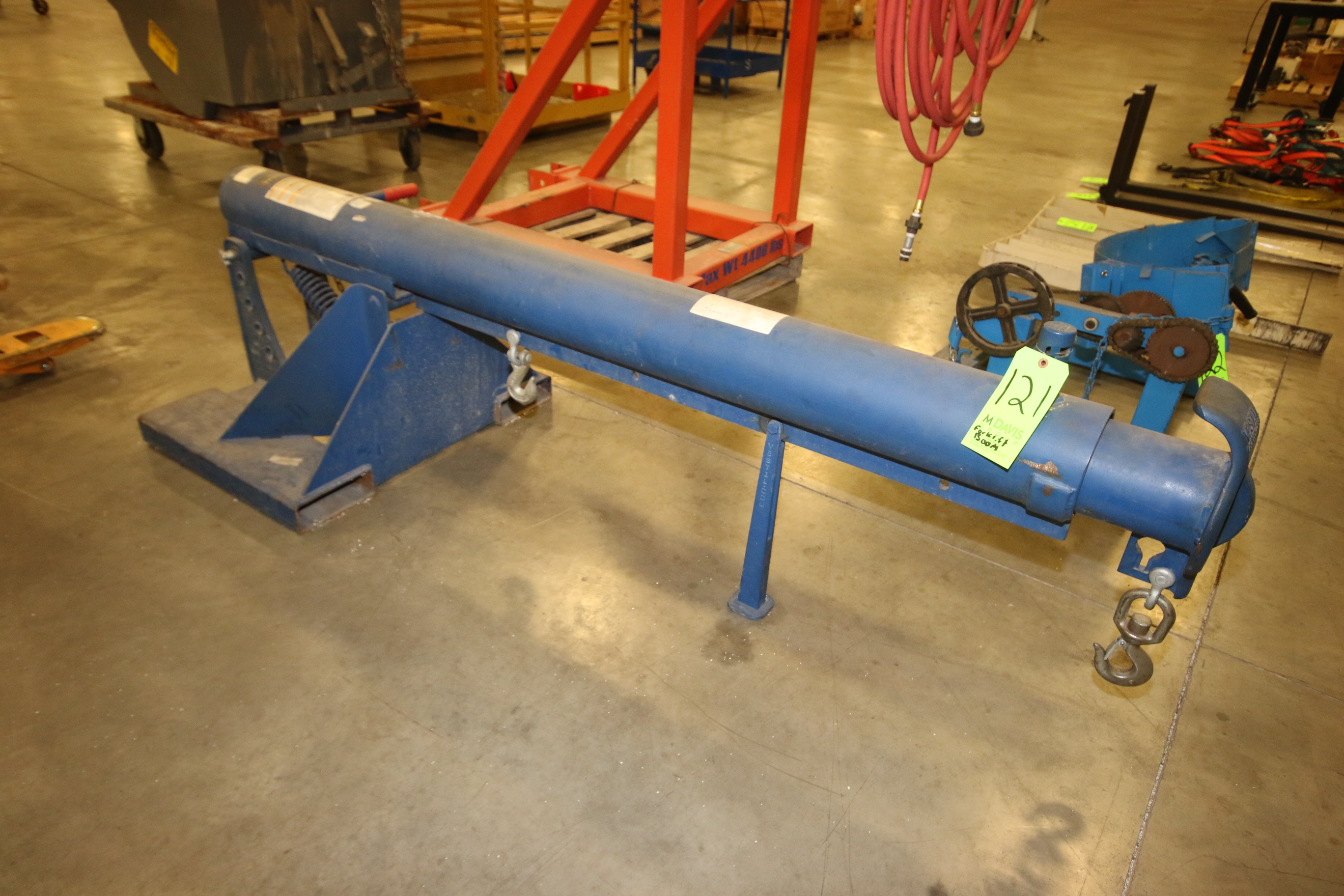 Lot 121 - 2010 Vestil Forklift Boom Attachment, M/N LM-OBT-4, Capacity: 4,000 lbs., with Adjustable Extention