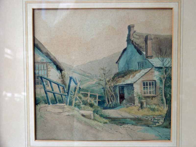 Lot 115 - Olive Wharry (1886-1947), Devon Village Lane by a Ford, signed watercolour, 24cm by 24cm Note: Olive