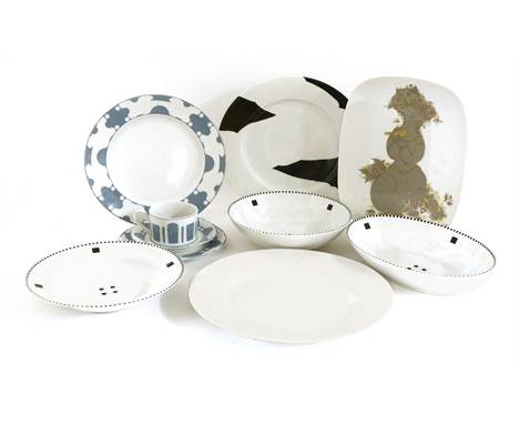 A collection of Swid Powell dinnerwares, designed by Ettore Sottsass and others (qty.)