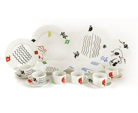 'Medici' coffee and dinnerwares, designed by Ettore Sottsass for Swid Powell, comprising:8 coffee cups and saucers,8 soup pla