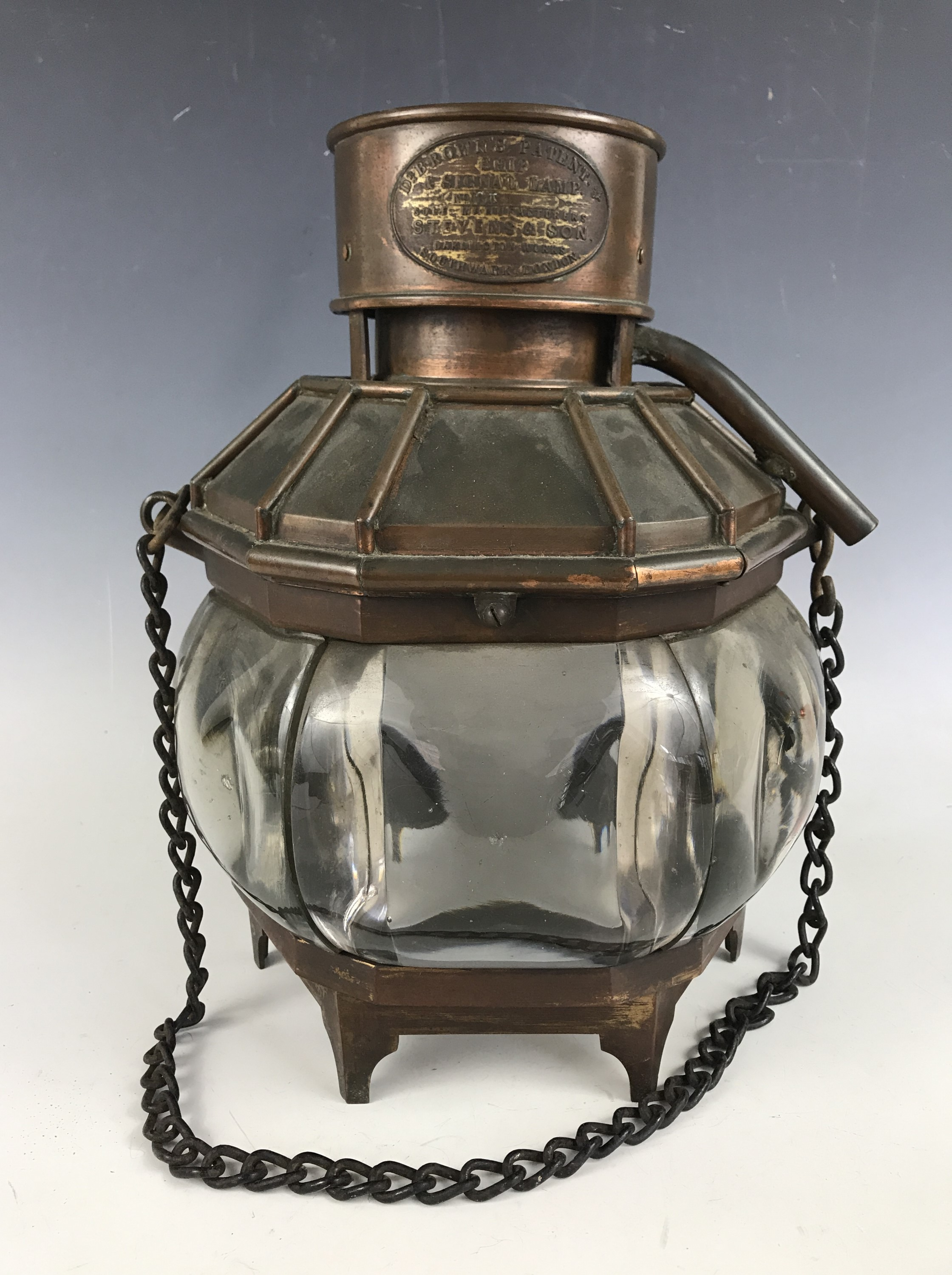 Lot 10 - A Brown's Patent Ship and Signal Lamp, No 6T, manufactured by Stevens & Son, Darlington Works,