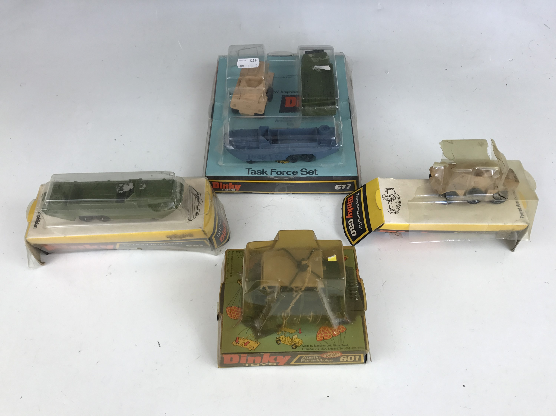 Lot 58 - Vintage military Dinky Toys, including 677 Task Force Set, 681 D.U.K.W Amphibian, 680 Ferret