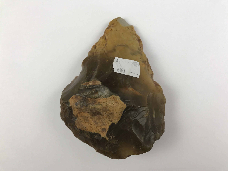 Lot 36 - A Palaeolithic Acheulean flint hand axe, 14 cm x 10 cm