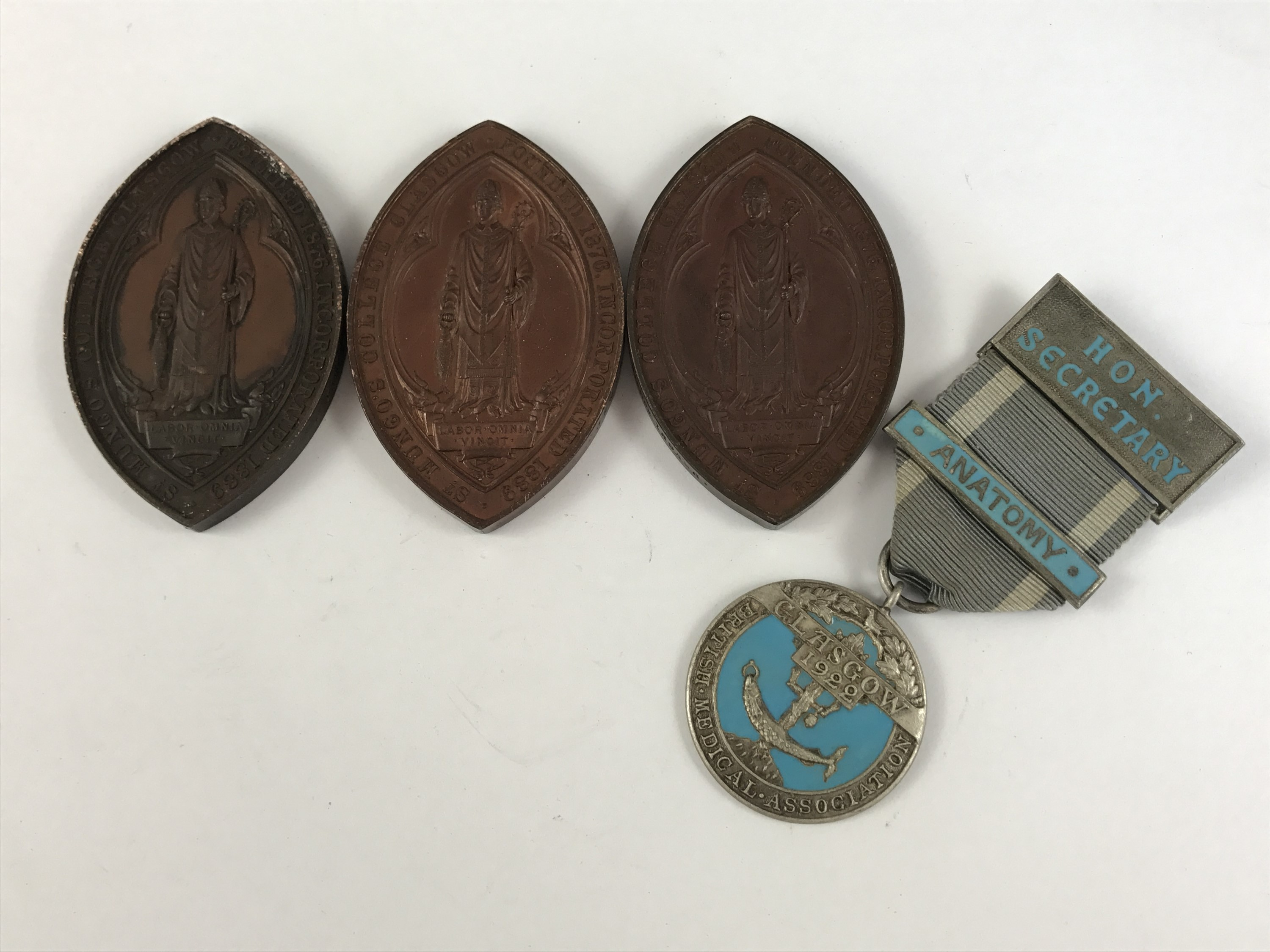 Lot 37 - Three Victorian medical bronze prize medallion of St Mungo's College, University of Glasgow, awarded