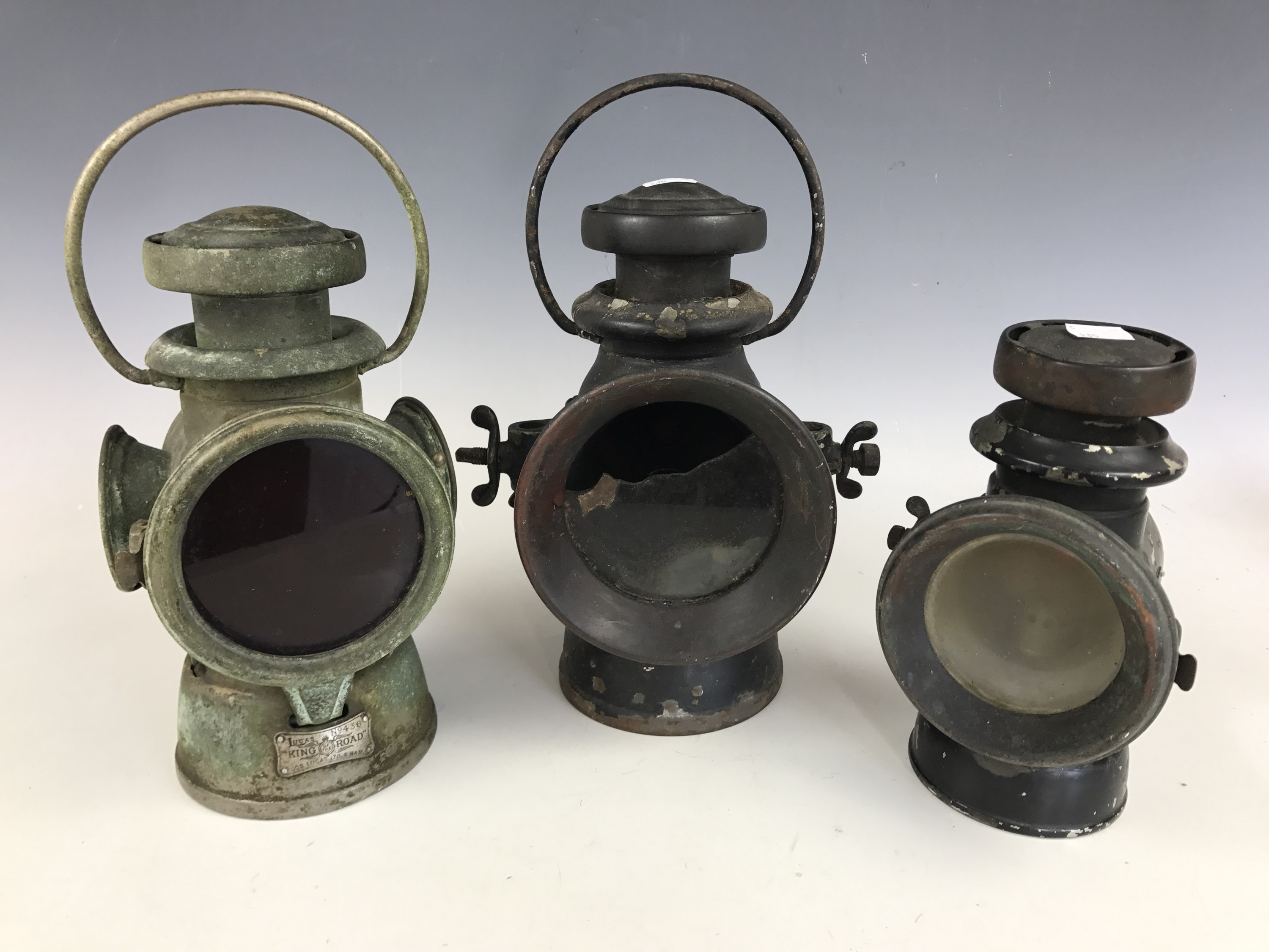 "Lot 26 - Three Lucas ""King of the Road"" carbide lamps"