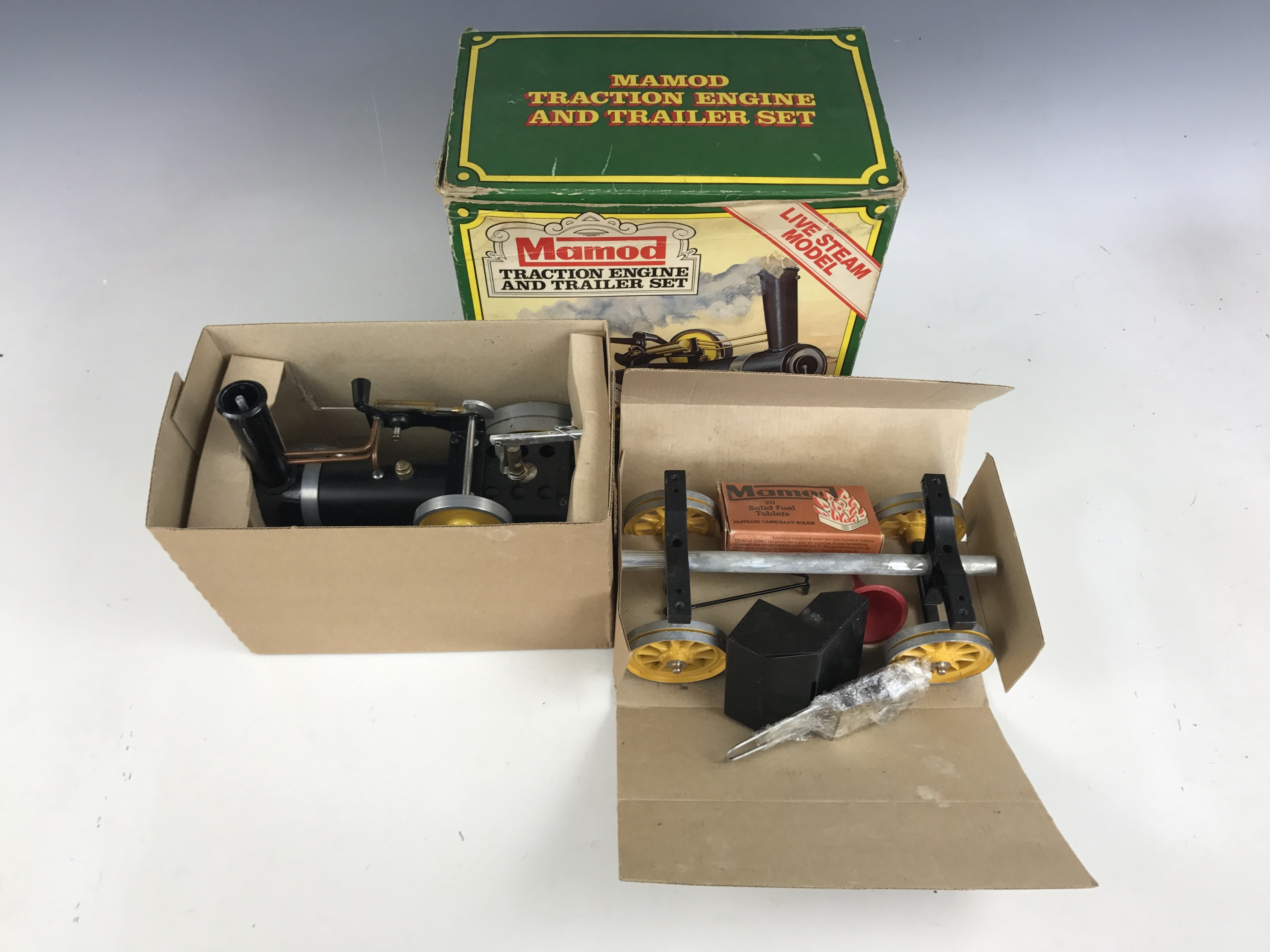 Lot 54 - A Mamod live-steam model Traction Engine and Trailer Set, together with original box