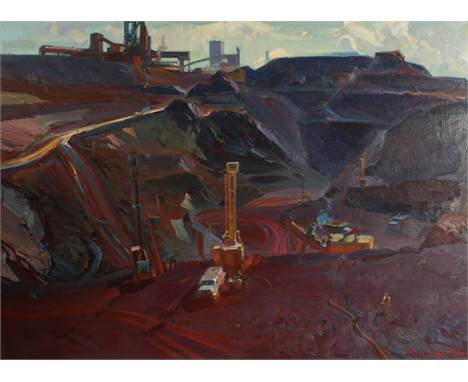 Grygory Shyshko (1923-1994) Russian. 'Kryvij Rig 1979' A Quarry Scene with Machinery and Figures, a Processing Plant in the D