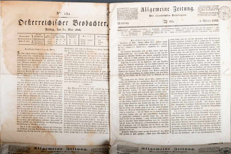 Österreichischer Beobachter 1813, 1828 und Allgemeine Zeitung Augsburg, 1832Österreichischer