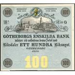 Lot 2740 - Gotheborgs Enskilda Bank, Sweden, obverse proof 100 Riksdaler, 1858, Litt G, no serial numbers, no