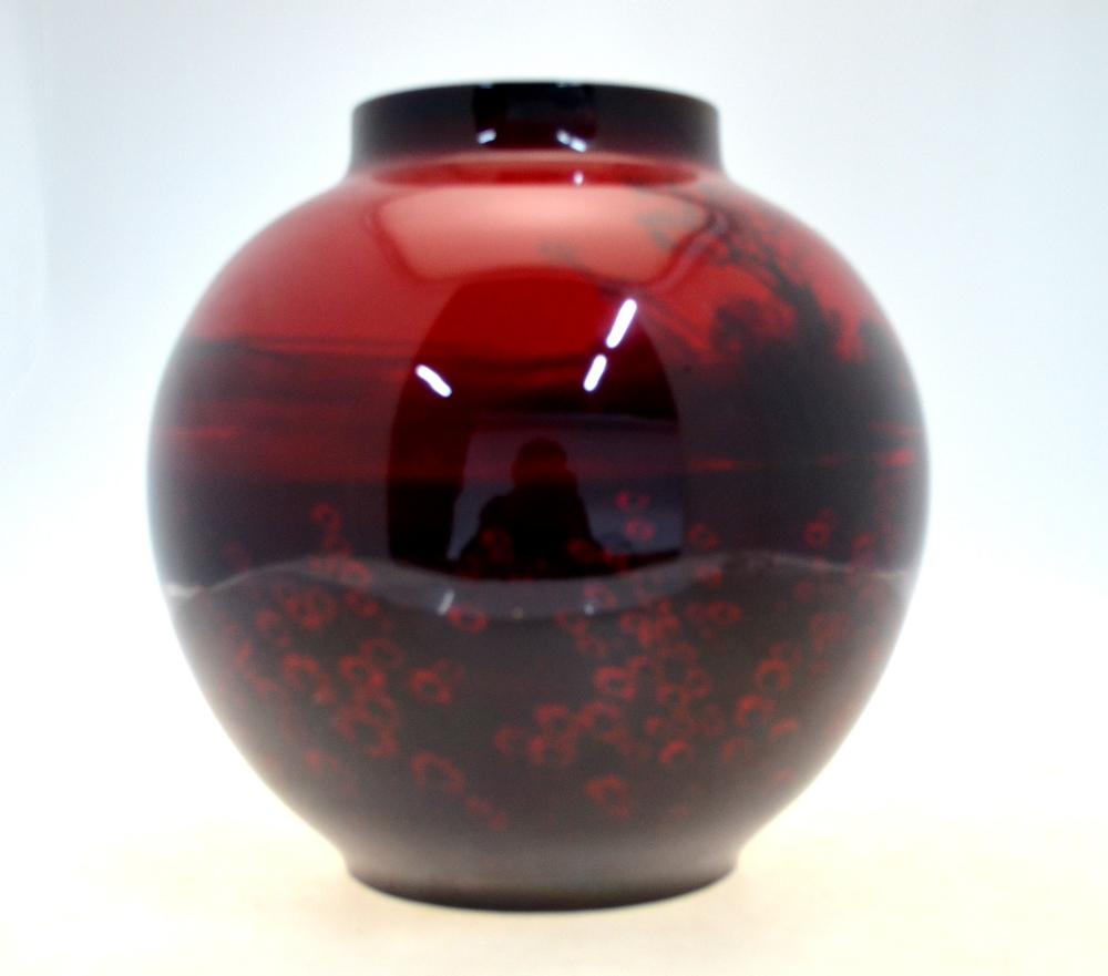A Large Royal Doulton Flambe Red Glazed Oviform Vase