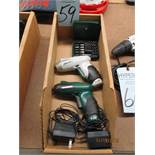 Two Masterforce 4v Cordless Screw Drivers With Two Chargers And Box Of Bits M/N 241-0716