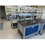 Lot of (6) rolling lab tables with drawers, located in B wing, 4th floor, room 447A