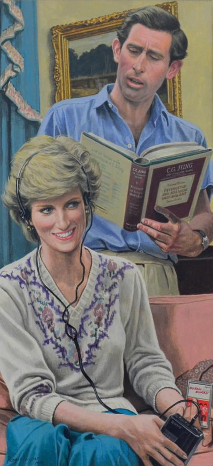 Lot 2152 - Roger Payne (20th century) Portrait of Prince Charles and Lady Diana in their drawing room, he
