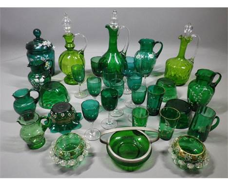 GREEN DRINKING GLASSWARE, decanters and enamel decorated jugs and bowls, a collection, approximately 30 pieces
