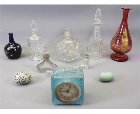 SCENT BOTTLES & OTHER GLASSWARE, Art Deco frosted glass clock and a Cobalt ground bud vase with gilt and insect decoratio