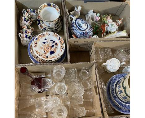 STAFFORDSHIRE TEAWARE, Windermere items by Enoch Wedgwood, Staffordshire flatback, Doulton Lambeth planter, quality glassware
