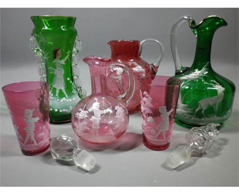 VICTORIAN & LATER GLASS COLLECTION decorated Mary Gregory style to include a jug, small decanter and two beakers in Cranb