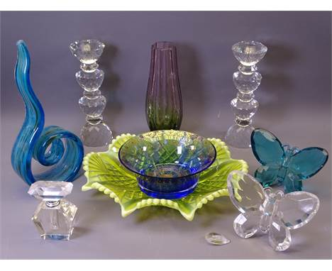 SWAROVSKI STYLE CANDLEHOLDERS, a pair, 21cms H, Vaseline glass dish, commemorative glass bowl and other Art glassware