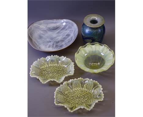 VASELINE GLASS DISHES, a pair, 16cms W, similar deeper bowl, Alum Bay vase, 12.5cms H and an Art glass dish
