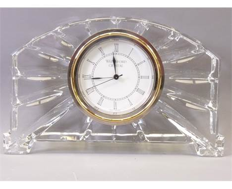 WATERFORD CRYSTAL GLASS MANTEL CLOCK, 11cms H, 17cms W