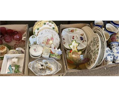 MARY GREGORY STYLE & CRANBERRY GLASSWARE, creamware dish, Yardley group figure, Portmeirion and an assortment of other ch