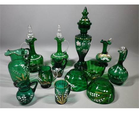 ENAMEL PAINTED VICTORIAN GREEN GLASSWARE, 13 pieces to include a pair of decanters with stoppers, floral decorated vase with
