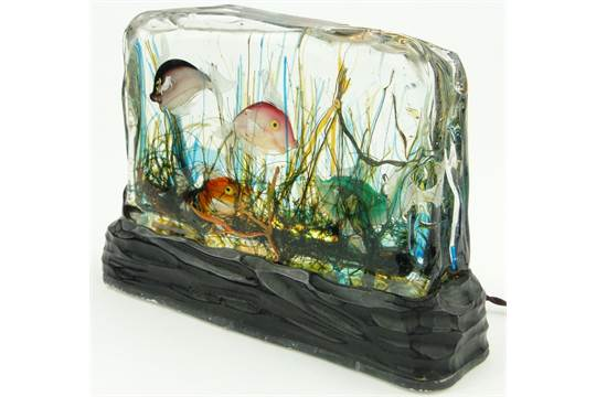 A rare Vintage Murano glass tableau/lamp, in the form on an aquarium ...
