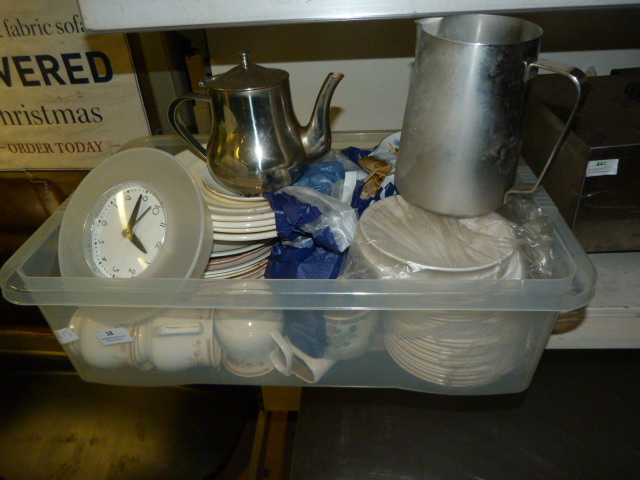 Lot 18 - Box Containing Stainless Steel Jugs, Teapots, Cups