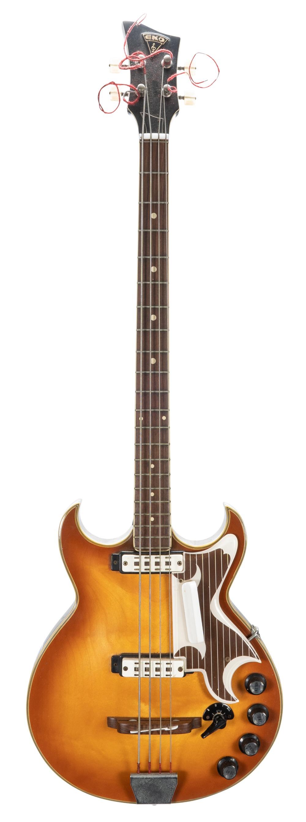 Lot 27 - 1960s Eko 960/2 Florentine bass guitar, made in Italy; Finish: amber burst, various blemishes/
