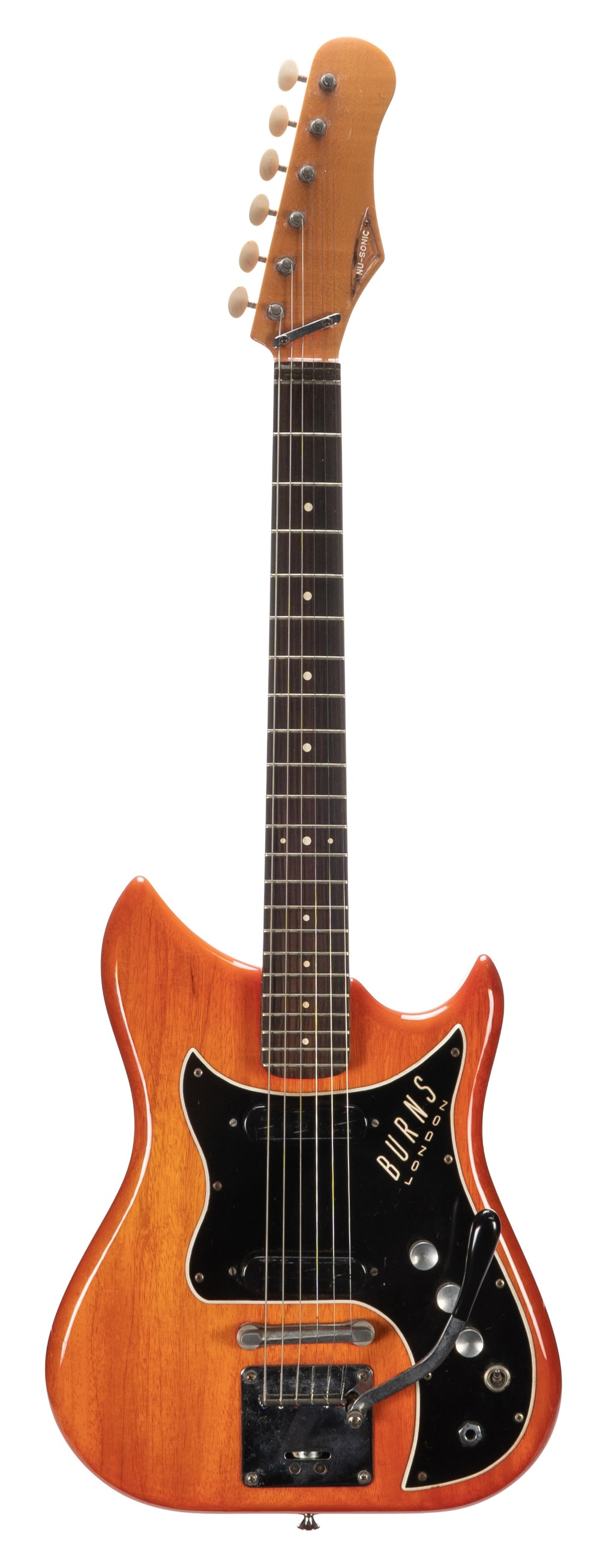 1964 Burns Nu-Sonic electric guitar, made in England, ser. no. 7xx7; Finish: red, mild fading to the