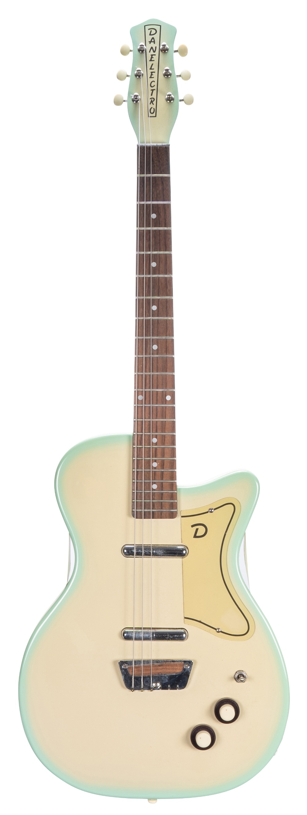 1990s Danelectro '56 electric guitar, made in Korea; Finish: surf green burst, minor dings, side