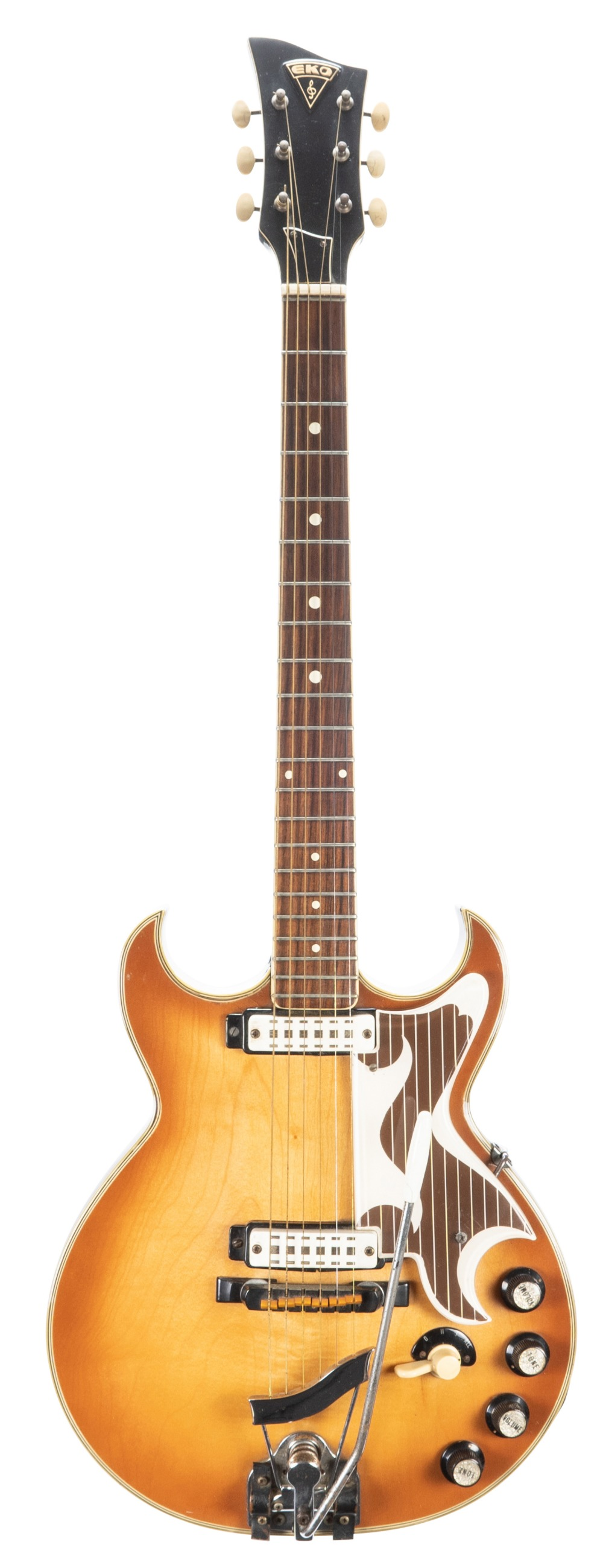 Lot 36 - 1960s Eko 360/2 Florentine electric guitar, made in Italy; Finish: amber burst, lacquer cracks,
