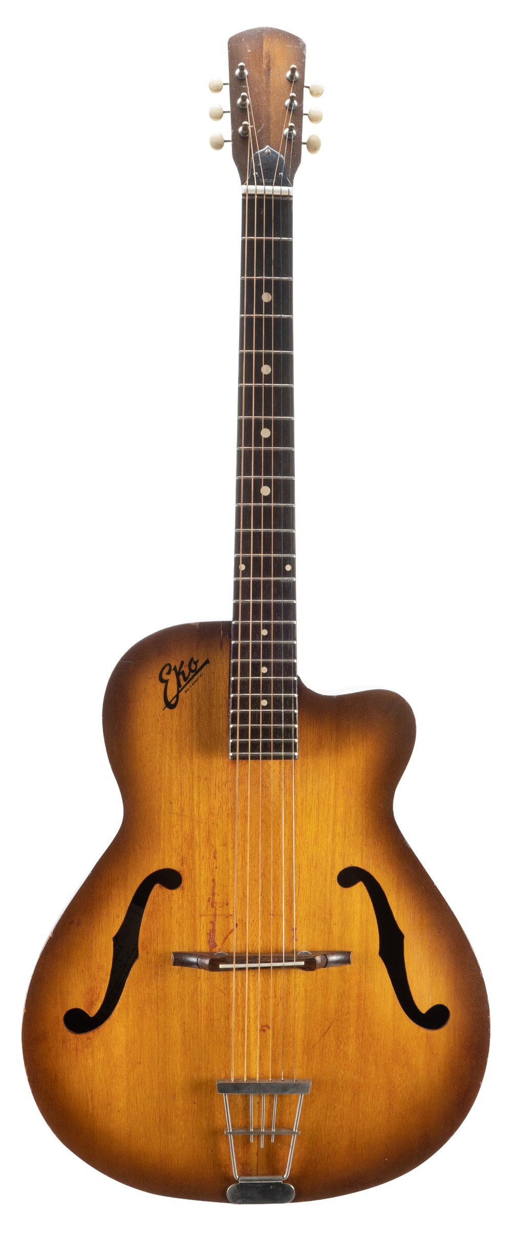 1963 Eko 100 hollow body guitar; Finish: tobacco burst, various imperfections including minor
