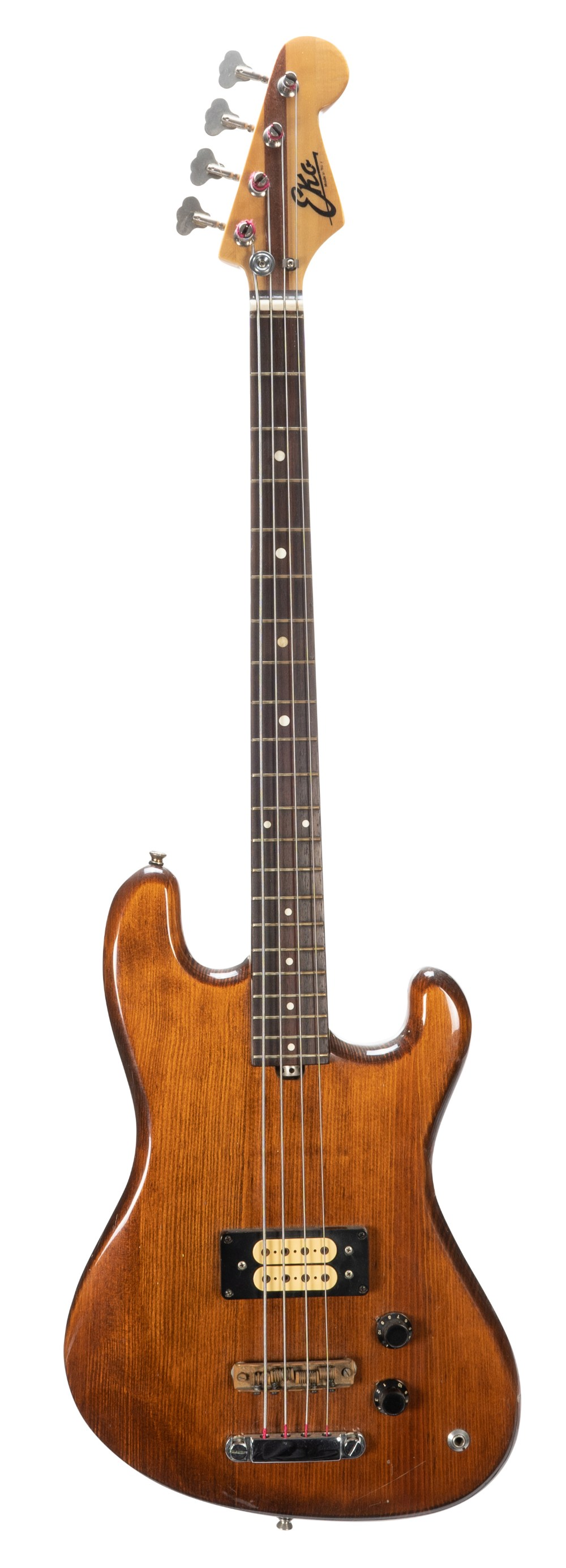 1980s Eko B.02 bass guitar, made in Italy; Finish: brown, light surface scratches and dings;