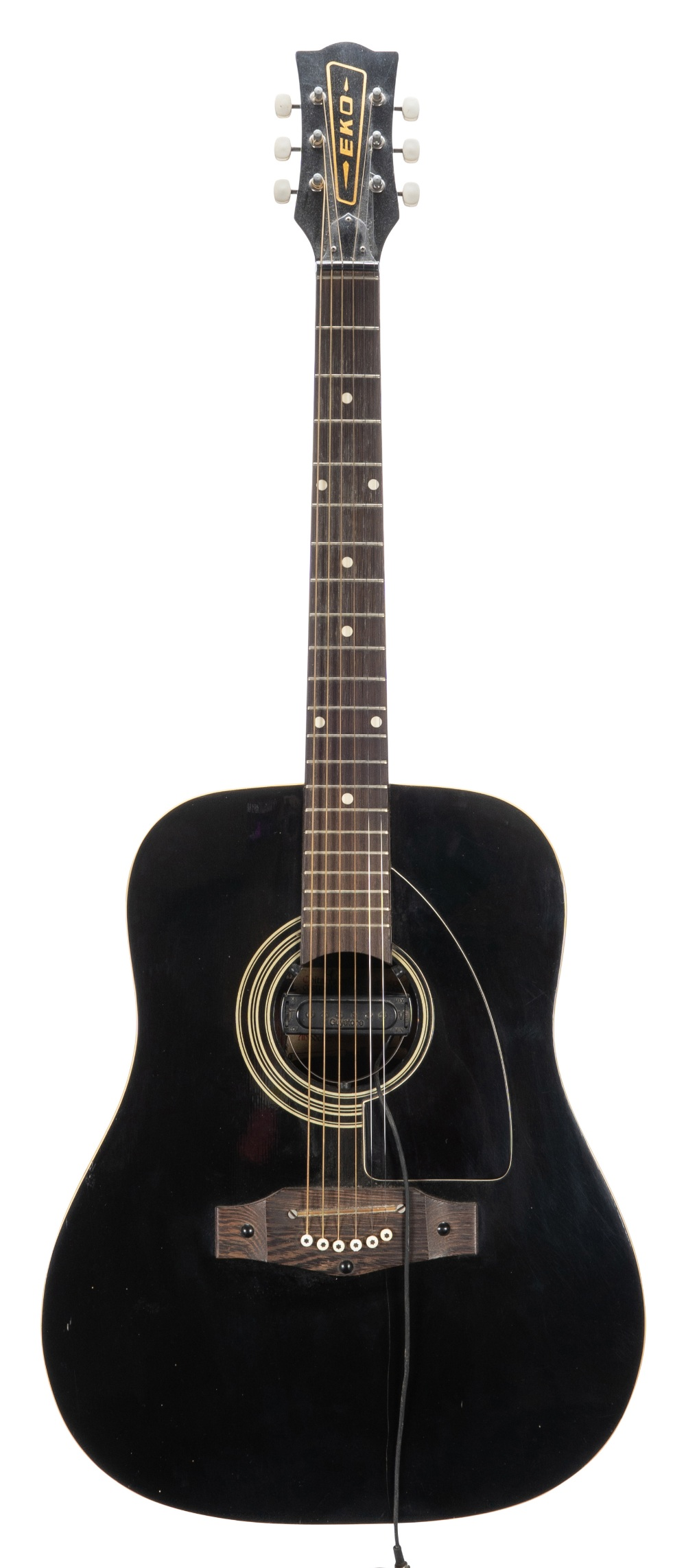 Lot 29 - 1970s Eko Rio Grande acoustic guitar; Finish: black, heavy lacquer crack to top, other various