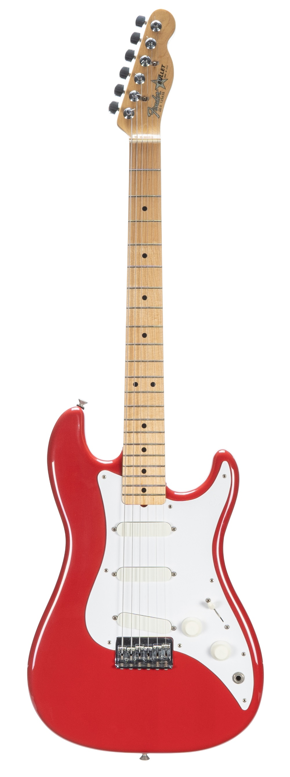 1981 Fender S-3 Bullet electric guitar, made in USA, ser. no. E1xxx30; Finish: red, light surface
