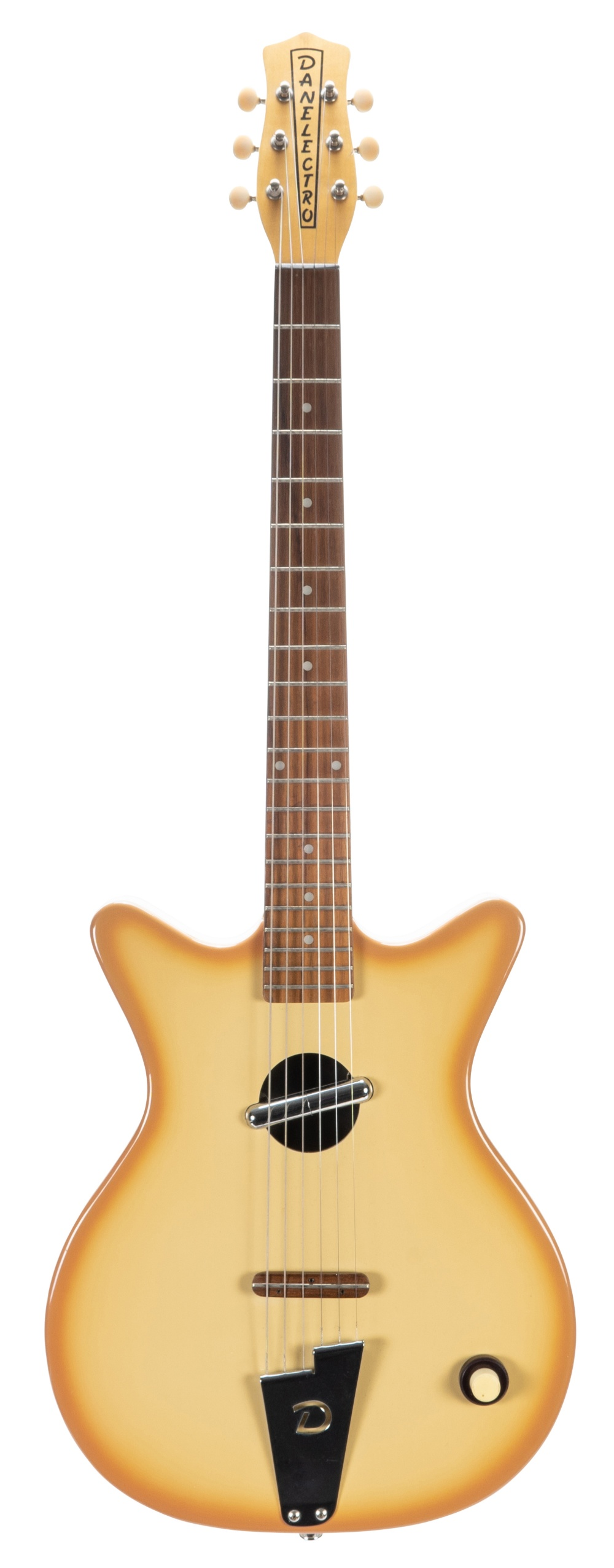 Danelectro Convertible hollow body electric guitar; Finish: coral burst; Fretboard: rosewood; Frets: