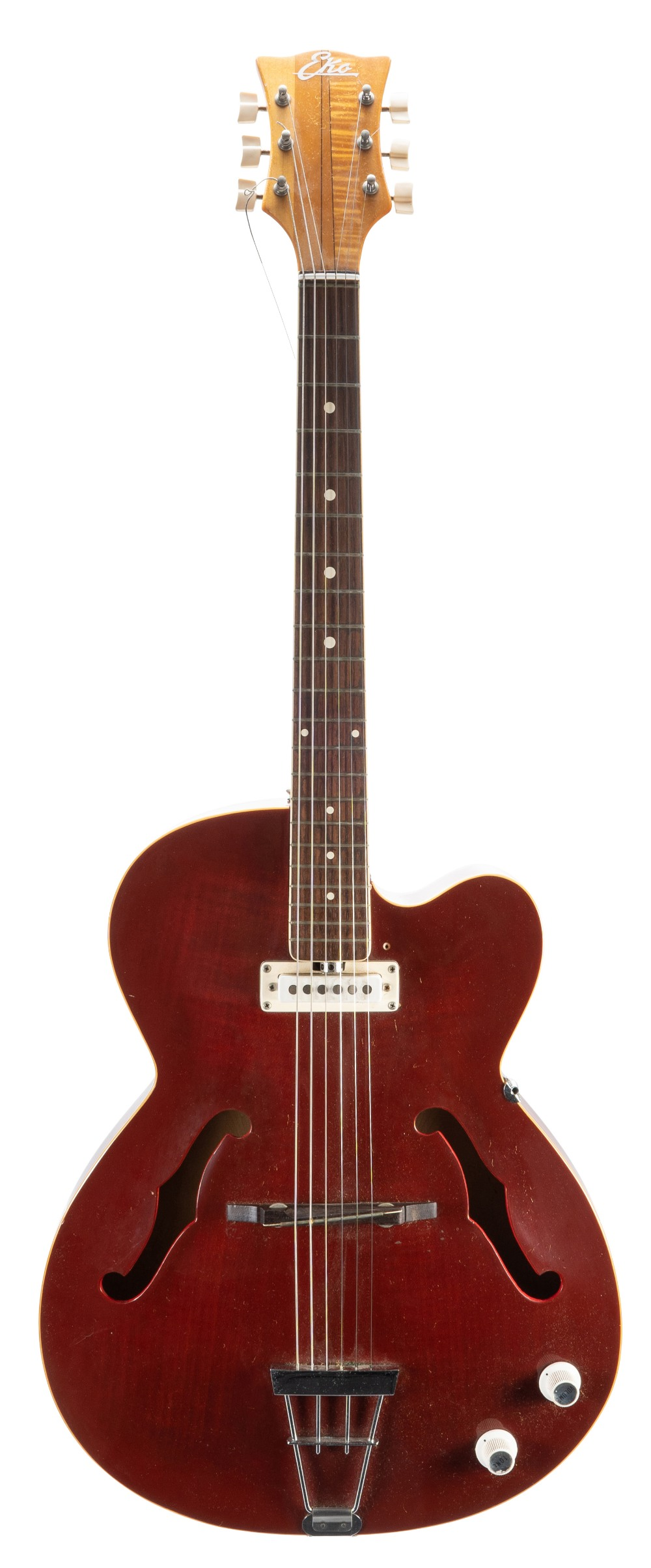 Lot 26 - 1960s Eko hollow body electric guitar, made in Italy, ser. no. 4xxxx2; Finish: cherry red, surface
